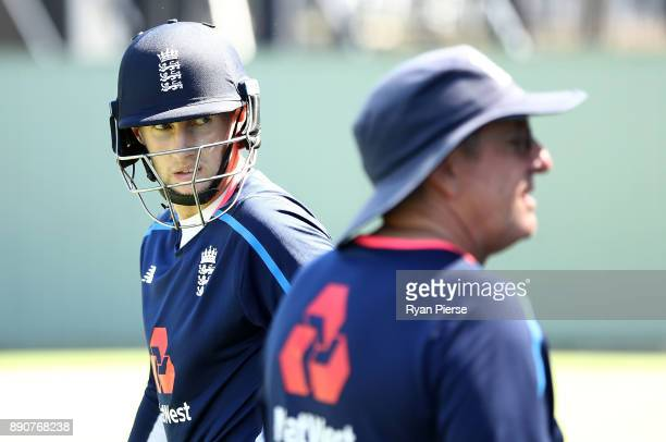 Joe Root of England and England Head Coach Trevor Bayliss look on during an England nets session ahead of the Third Test of the 2017/18 Ashes Series...