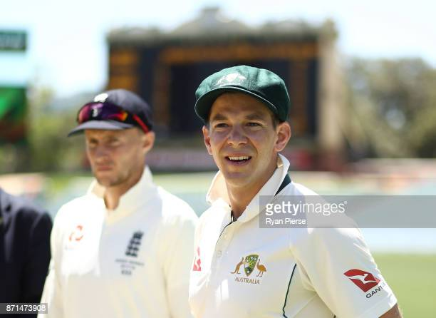 Joe Root of England and Tim Paine of CA XI meet at the coin toss during the four day tour match between Cricket Australia XI and England at Adelaide...