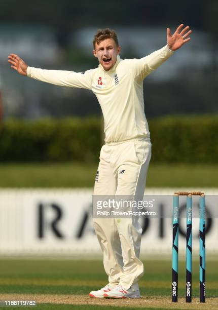 Joe Root of England appeals at Cobham Oval on November 17, 2019 in Whangarei, New Zealand.