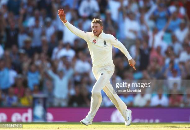 Joe Root of England appeals unsuccessfully during day four of the 5th Specsavers Ashes Test between England and Australia at The Kia Oval on...