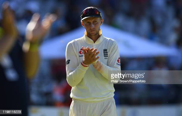 Joe Root of England applauds after his team won the Second Test between England and South Africa at Newlands on January 07 2020 in Cape Town South...