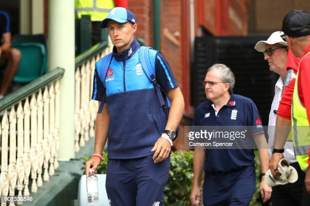 Joe Root of England arrives at the ground after leaving hospital being treated for servere dehydration during day five of the Fifth Test match in the...