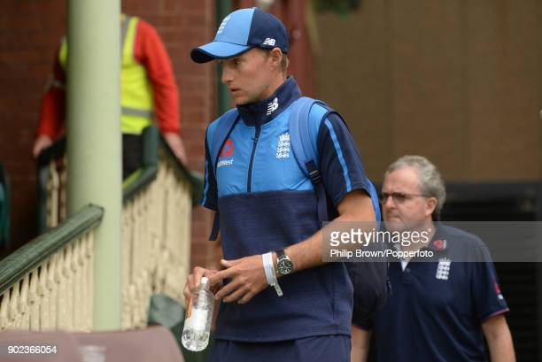 Joe Root of England arrives at the ground from hospital during the fifth day of the fifth Ashes cricket test match between Australia and England at...