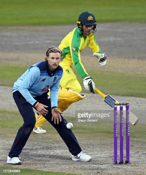Joe Root of England attempts to run out Alex Carey of Australia during the 3rd Royal London One Day International Series match between England and...