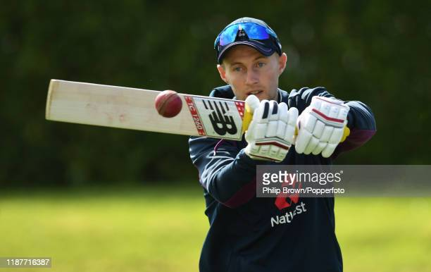 Joe Root of England bats before the start of play at Cobham Oval on November 15 2019 in Whangarei New Zealand