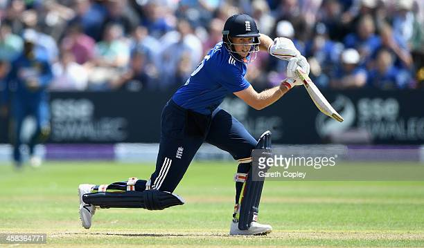 Joe Root of England bats during 5th ODI Royal London One Day International match between England and Sri Lanka at SWALEC Stadium on July 2 2016 in...