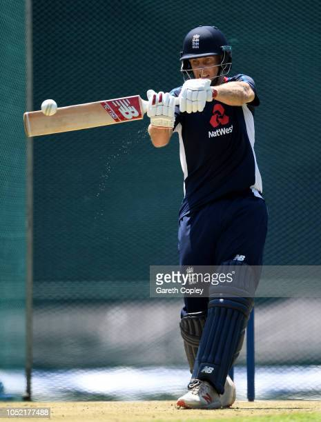 Joe Root of England bats during a nets session at Pallekele International Cricket Stadium on October 15 2018 in Kandy