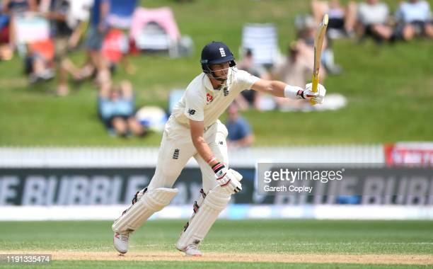 Joe Root of England bats during day 4 of the second Test match between New Zealand and England at Seddon Park on December 02, 2019 in Hamilton, New...