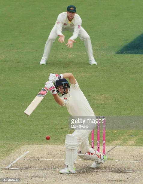 Joe Root of England bats during day five of the Fifth Test match in the 2017/18 Ashes Series between Australia and England at Sydney Cricket Ground...
