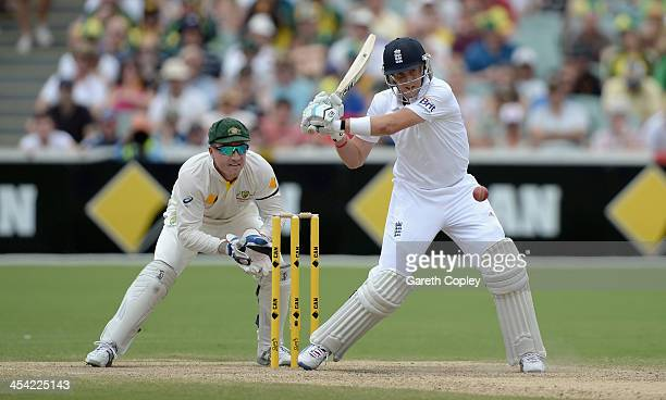 Joe Root of England bats during day four of the Second Ashes Test Match between Australia and England at Adelaide Oval on December 8 2013 in Adelaide...
