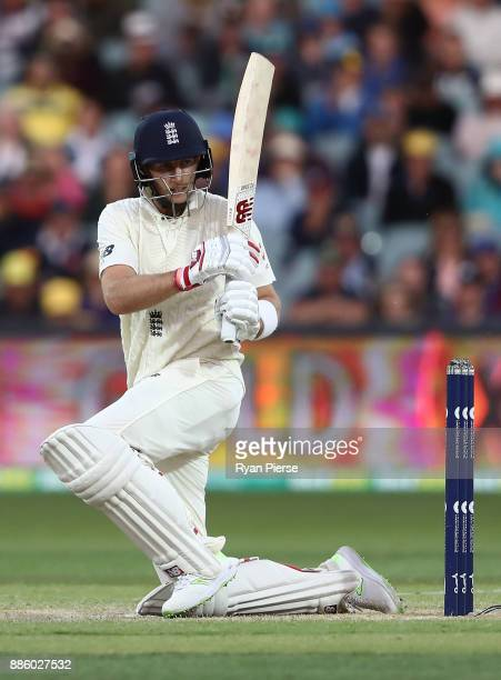 Joe Root of England bats during day four of the Second Test match during the 2017/18 Ashes Series between Australia and England at Adelaide Oval on...