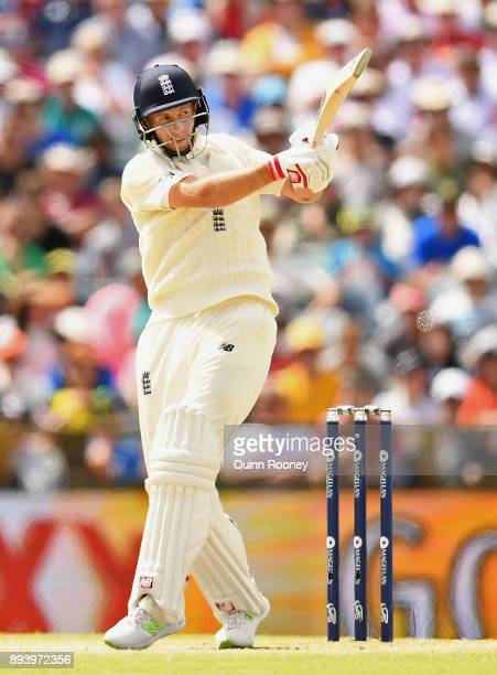 Joe Root of England bats during day four of the Third Test match during the 2017/18 Ashes Series between Australia and England at WACA on December 17...