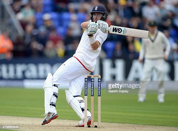 Joe Root of England bats during day one of the 1st Investec Ashes Test match between England and Australia at SWALEC Stadium on July 8 2015 in...