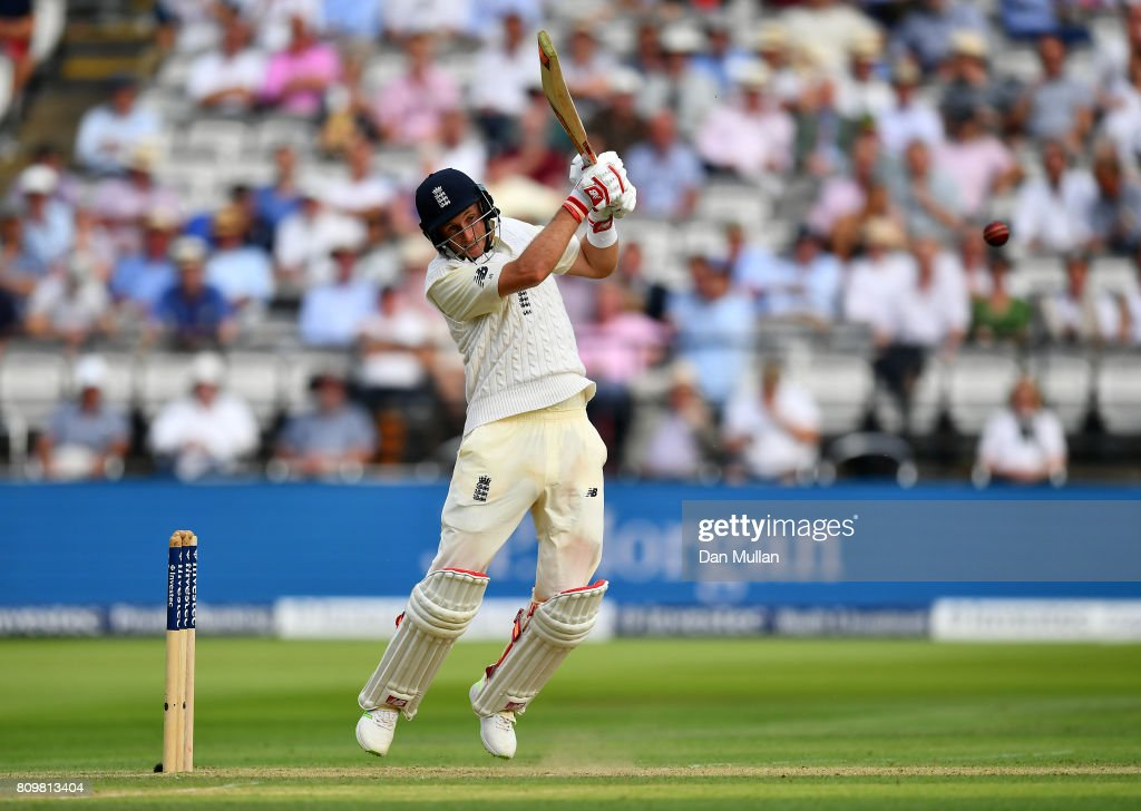 Joe Root of England bats during day one of the 1st Investec Test Match between England and South Africa at Lord's Cricket Ground on July 6, 2017 in London, England.