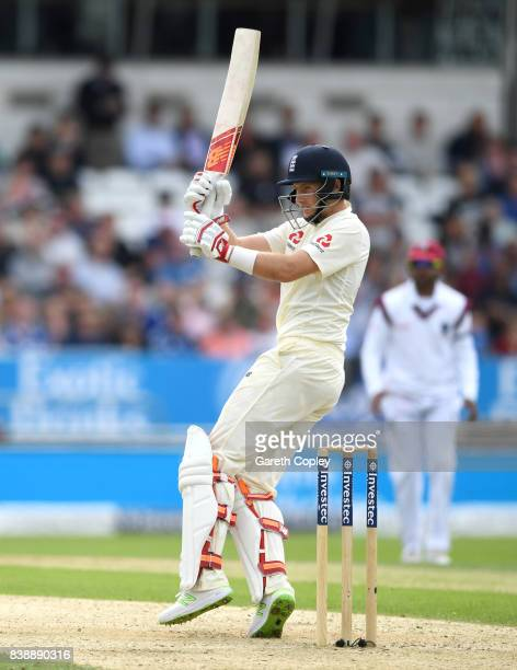 Joe Root of England bats during day one of the 2nd Investec Test between England and the West Indies at Headingley on August 25 2017 in Leeds England