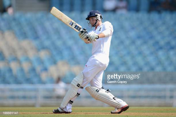 Joe Root of England bats during day one of the tour match between Mumbai A and England at The Dr DY Palit Sports Stadium on November 3 2012 in Mumbai...