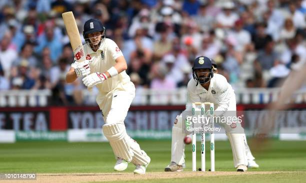 Joe Root of England bats during day three of Specsavers 1st Test match between England and India at Edgbaston on August 3 2018 in Birmingham England