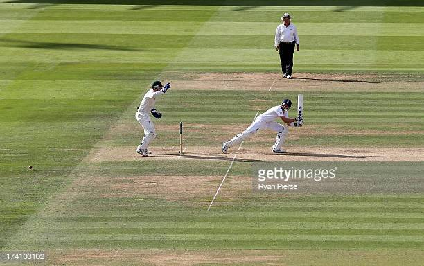 Joe Root of England bats during day three of the 2nd Investec Ashes Test match between England and Australia at Lord's Cricket Ground on July 20 2013...