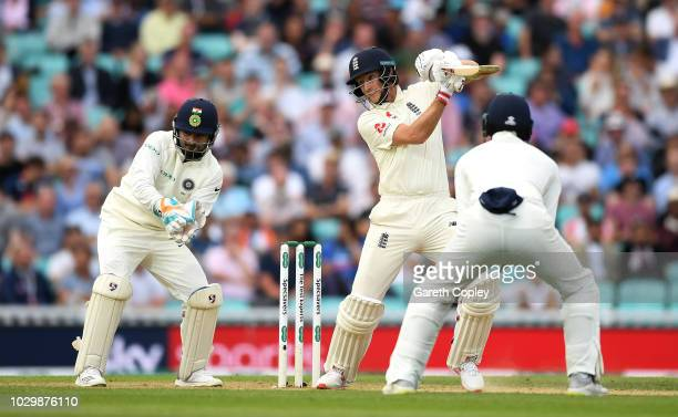 Joe Root of England bats during day three of the Specsavers 5th Test match between England and India at The Kia Oval on September 9, 2018 in London,...