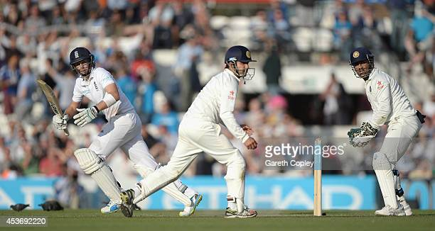 Joe Root of England bats during day two of 5th Investec Test match between England and India at The Kia Oval on August 16 2014 in London England