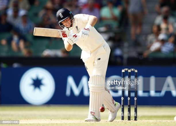 Joe Root of England bats during day two of the Fourth Test Match in the 2017/18 Ashes series between Australia and England at Melbourne Cricket...