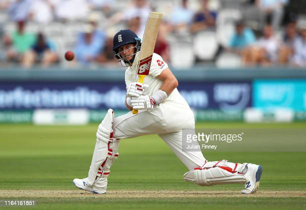 Joe Root of England bats during day two of the Specsavers Test Match between England and Ireland at Lord's Cricket Ground on July 25 2019 in London...