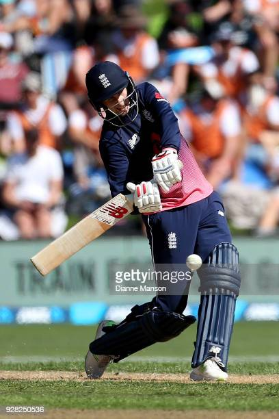 Joe Root of England bats during game four of the One Day International series between New Zealand and England at University of Otago Oval on March 7...