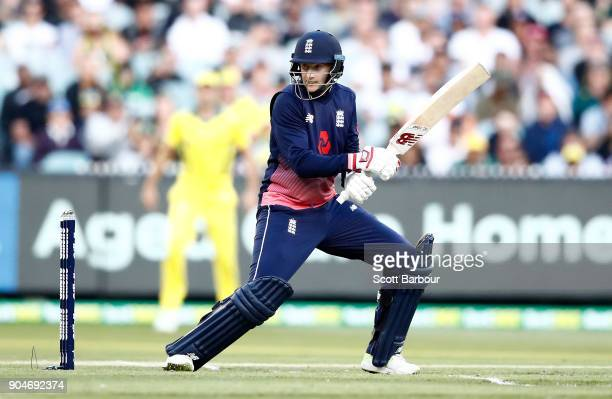 Joe Root of England bats during game one of the One Day International Series between Australia and England at Melbourne Cricket Ground on January 14...