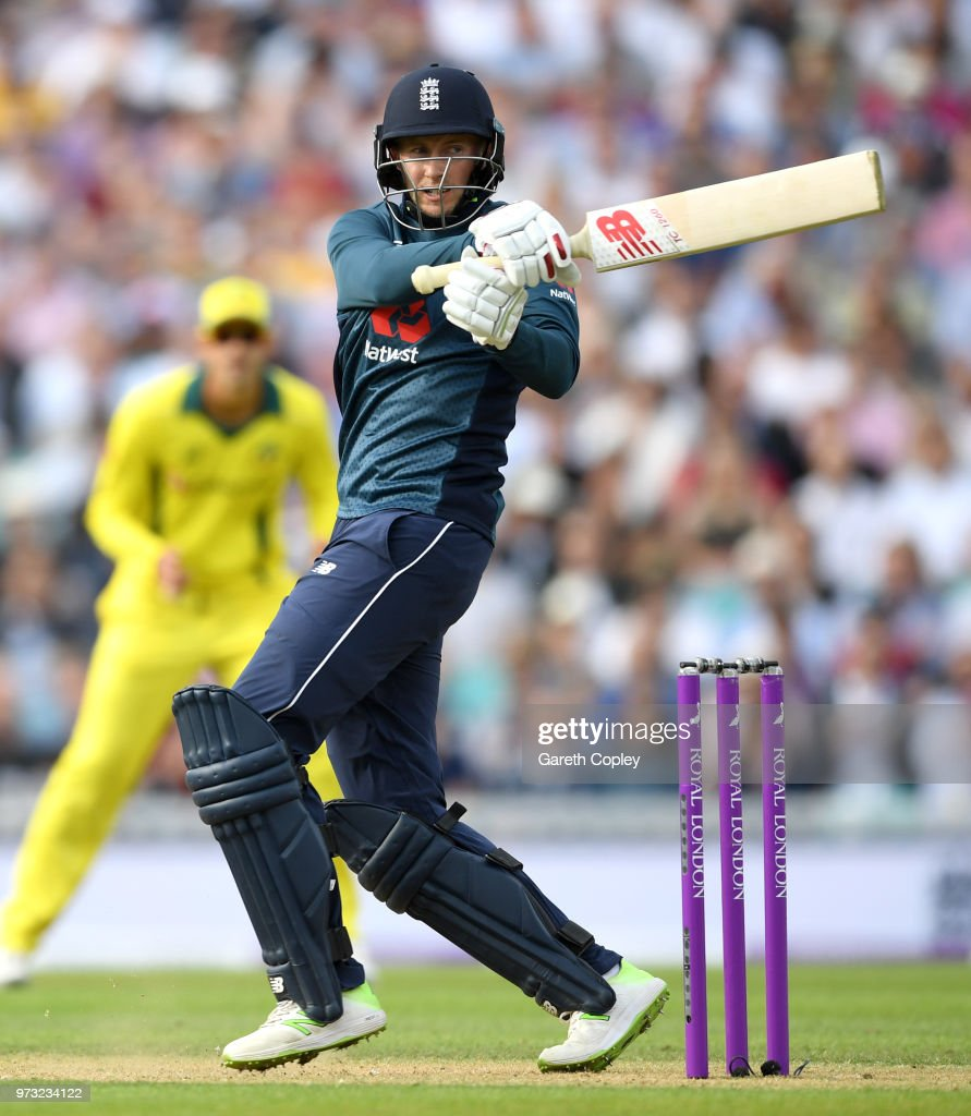 Joe Root of England bats during the 1st Royal London ODI match between England and Australia at The Kia Oval on June 13, 2018 in London, England.