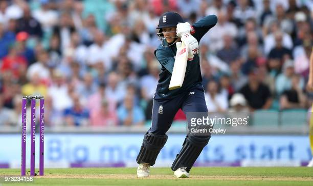 Joe Root of England bats during the 1st Royal London ODI match between England and Australia at The Kia Oval on June 13 2018 in London England