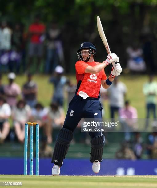 Joe Root of England bats during the 2nd One Day International match between Sri Lanka and England at Rangiri Dambulla International Stadium on...