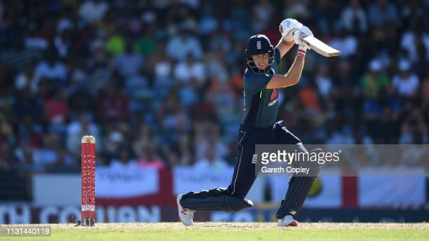 Joe Root of England bats during the 2nd One Day International match between the West Indies and England at Kensington Oval on February 22 2019 in...