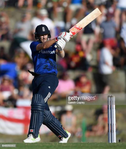 Joe Root of England bats during the 2nd One Day International match between the West Indies and England at Sir Vivian Richards Cricket Ground on...
