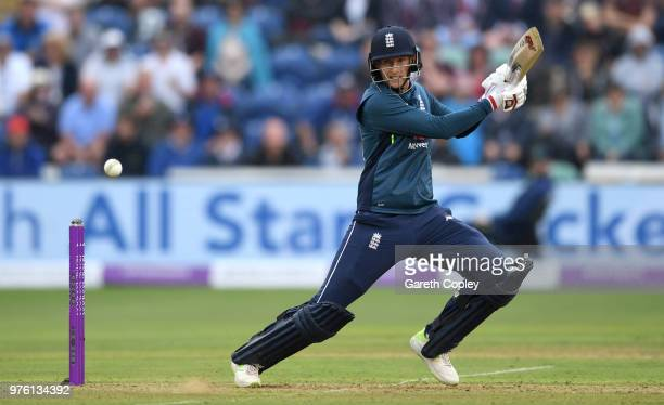 Joe Root of England bats during the 2nd Royal London ODI between England and Australia at SWALEC Stadium on June 16 2018 in Cardiff Wales