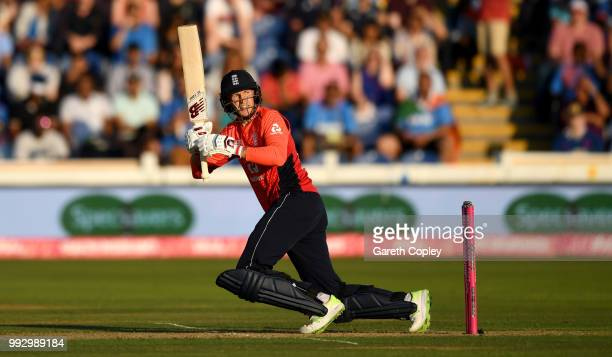 Joe Root of England bats during the 2nd Vitality International T20 match between England and India at SWALEC Stadium on July 6 2018 in Cardiff Wales