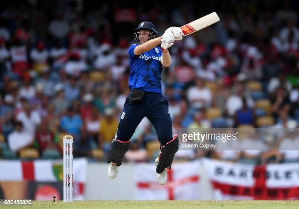 Joe Root of England bats during the 3rd One Day International between the West Indies and England at Kensington Oval on March 9 2017 in Bridgetown...