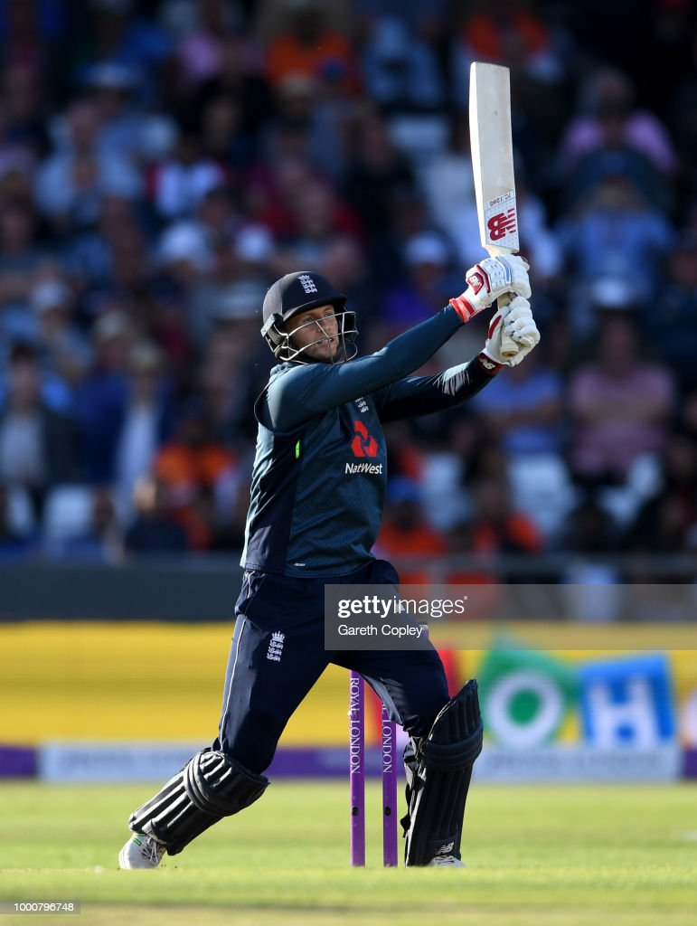 Joe Root of England bats during the 3rd Royal London One-Day International match between England and India at Headingley on July 17, 2018 in Leeds, England.