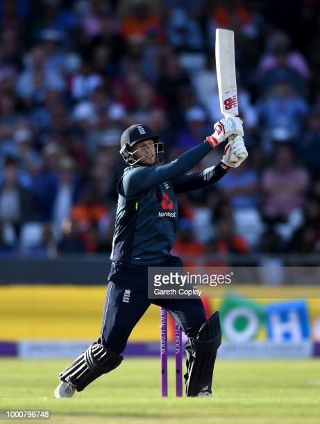 Joe Root of England bats during the 3rd Royal London OneDay International match between England and India at Headingley on July 17 2018 in Leeds...