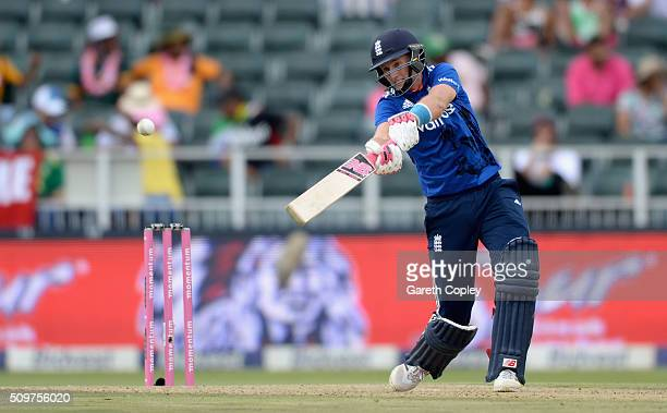 Joe Root of England bats during the 4th Momentum ODI between South Africa and England at Bidvest Wanderers Stadium on February 12 2016 in...