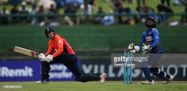 Joe Root of England bats during the 4th One Day International match between Sri Lanka and England at Pallekele Cricket Stadium on October 20 2018 in...