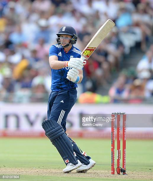 Joe Root of England bats during the 5th Momentum ODI match between South Africa and England at Newlands Stadium on February 14, 2016 in Cape Town,...