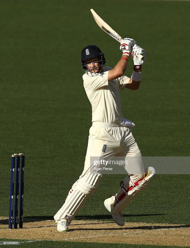 Joe Root of England bats during the four day tour match between Cricket Australia XI and England at Adelaide Oval on November 8, 2017 in Adelaide, Australia.