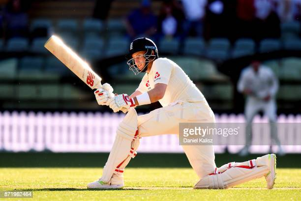 Joe Root of England bats during the four day tour match between Cricket Australia XI and England at Adelaide Oval on November 8 2017 in Adelaide...