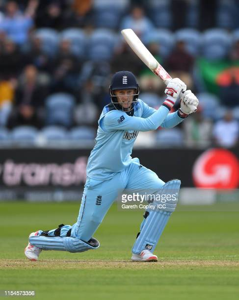 Joe Root of England bats during the Group Stage match of the ICC Cricket World Cup 2019 between England and Bangladesh at Cardiff Wales Stadium on...