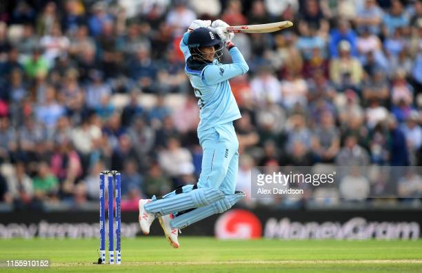 Joe Root of England bats during the Group Stage match of the ICC Cricket World Cup 2019 between England and West Indies at The Hampshire Bowl on June...