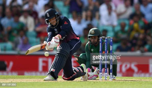 Joe Root of England bats during the ICC Champions Trophy group match between England and Bangladesh at The Kia Oval on June 1 2017 in London England