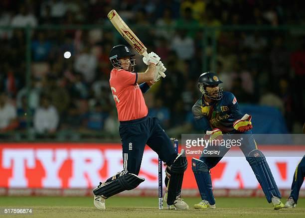 Joe Root of England bats during the ICC World Twenty20 India 2016 Group 1 match between England and Sri Lanka at Feroz Shah Kotla Ground on March 26...