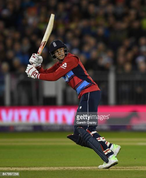 Joe Root of England bats during the NatWest T20 International match between England and the West Indies at Emirates Durham ICG on September 16 2017...