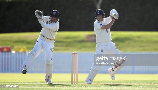 Joe Root of England bats during the tour match between New Zealand XI and England at Cobham Oval on November 12 2019 in Whangarei New Zealand