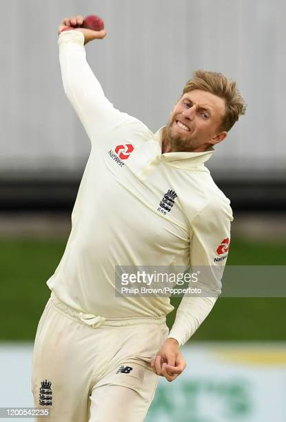 Joe Root of England bowls during Day Four of the Third Test between England and South Africa on January 19, 2020 in Port Elizabeth, South Africa.
